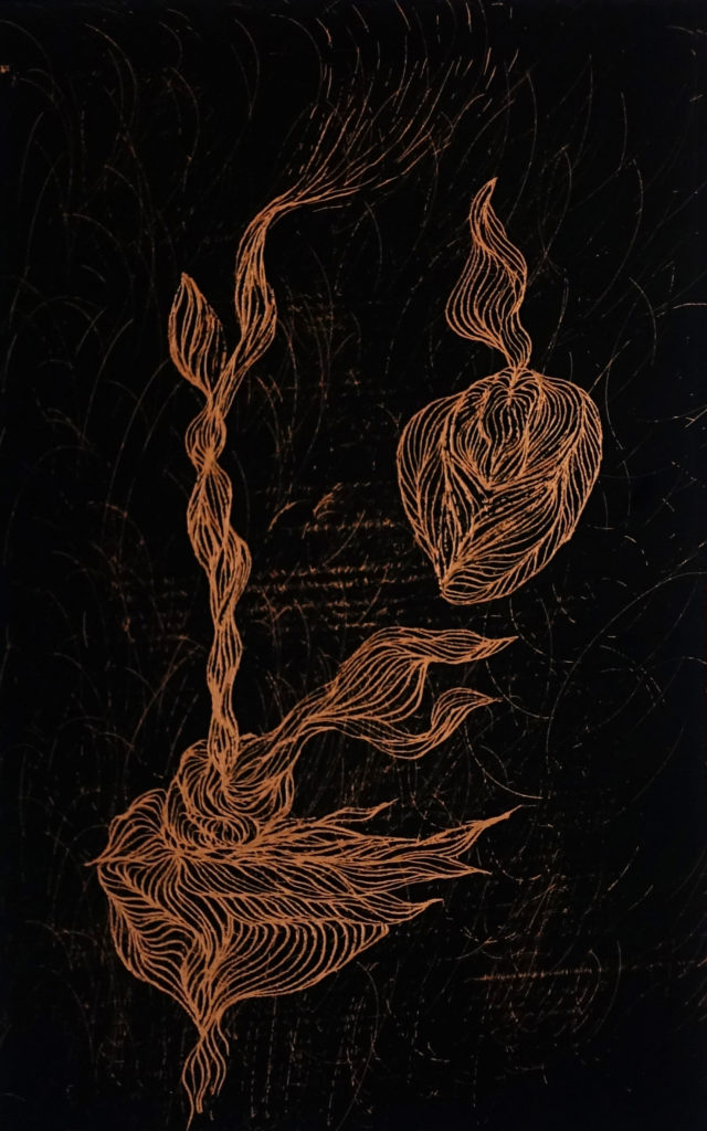 De la serie Espías en el Fondo del Mar, Hada y Caracol. Dibujo esgrafiado en cobre