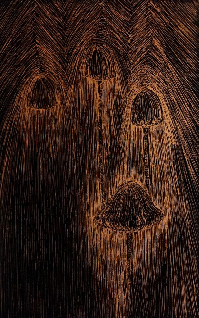 De la serie Espías en el Fondo del Mar, En Camino. Dibujo esgrafiado en cobre
