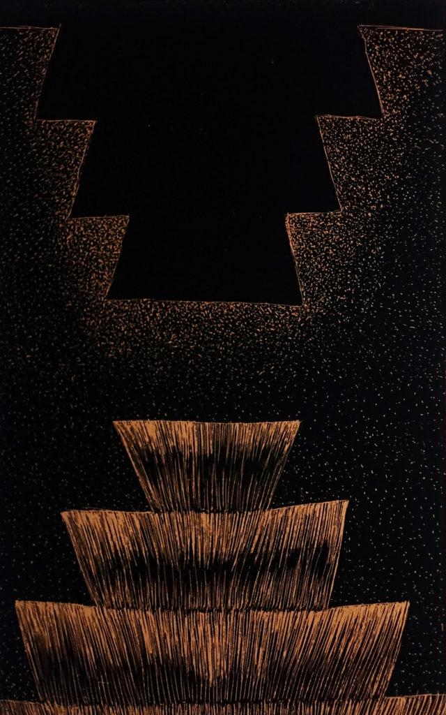De la serie Espías en el Fondo del Mar, Altar. Dibujo esgrafiado en cobre