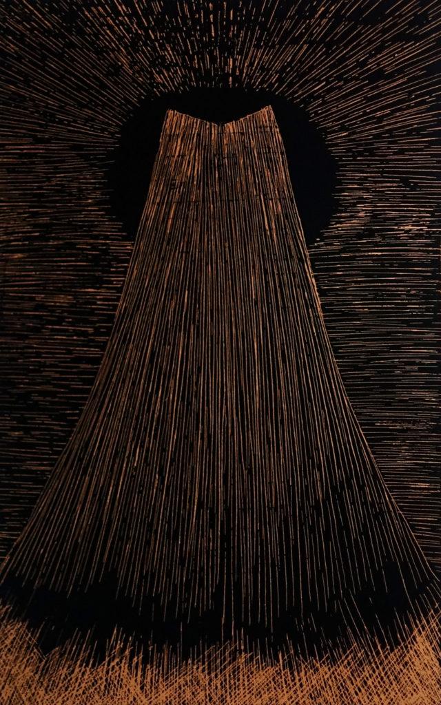 De la serie Espías en el Fondo del Mar, Paisaje. Dibujo esgrafiado en cobre