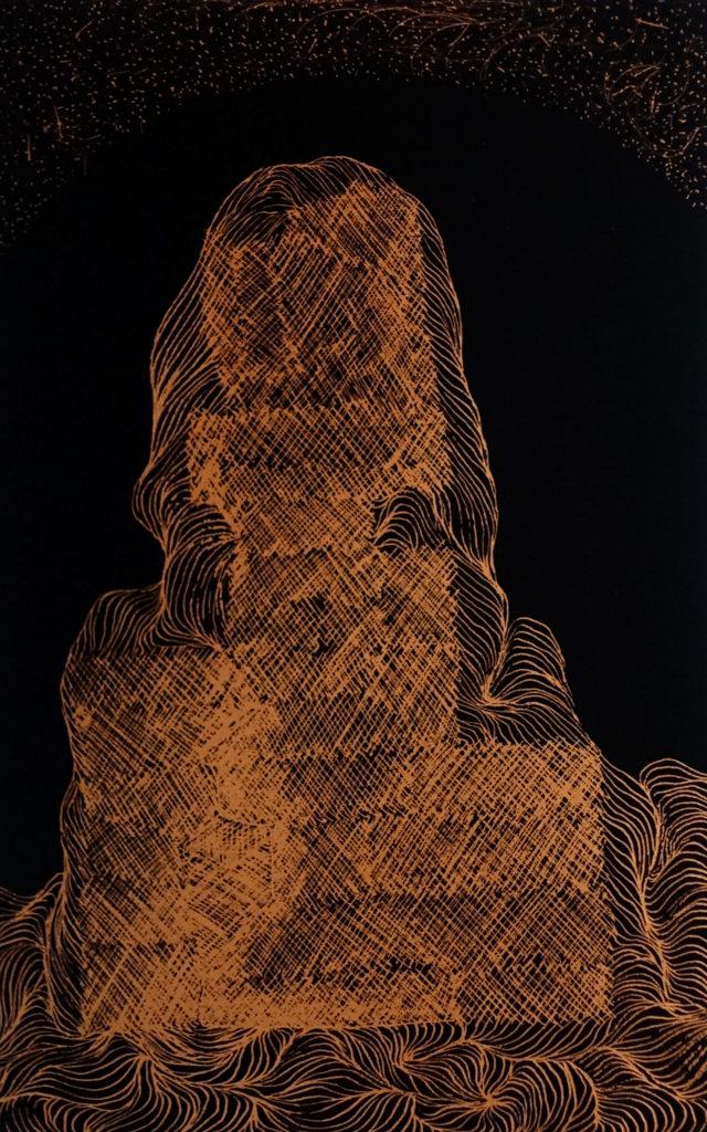 De la serie Espías en el Fondo del Mar, Figura. Dibujo esgrafiado en cobre