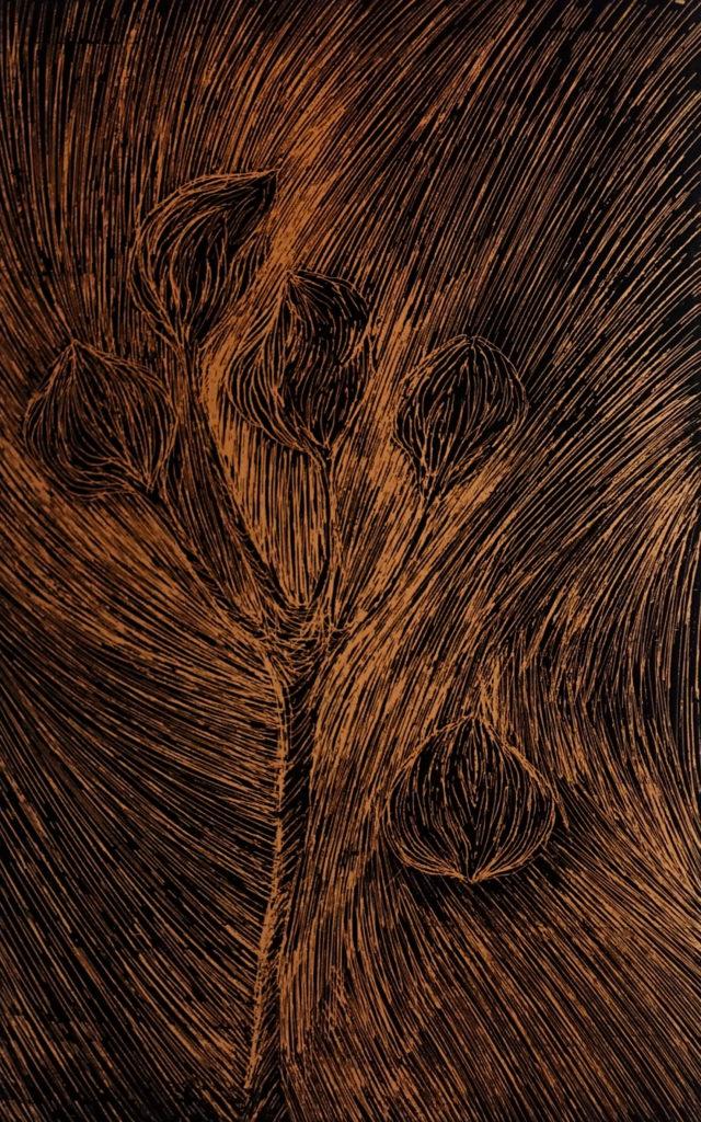 De la serie Espías en el Fondo del Mar, Flor. Dibujo esgrafiado en cobre